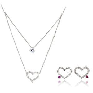 Elegant heart crystal necklace earrings set